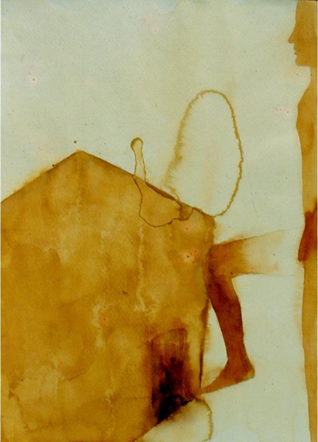 Atul Dodiya, 'Civitella Ranieri', 1999, Watercolours, beige coloured watercolour, dark beige, light beige, with a person on the side