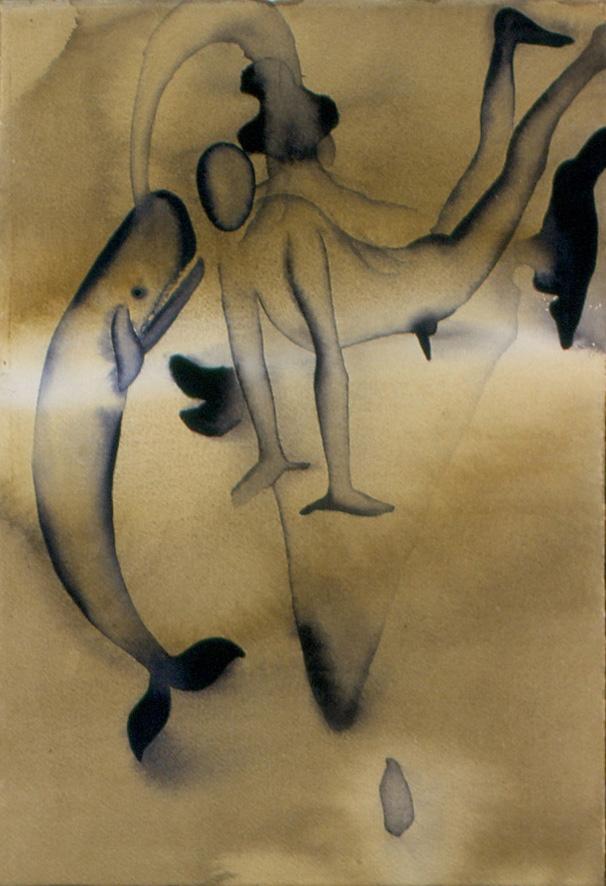 Atul Dodiya, 'Civitella Ranieri', 1999, Watercolours, dark beige watercolour on paper, whale and a person, surreal