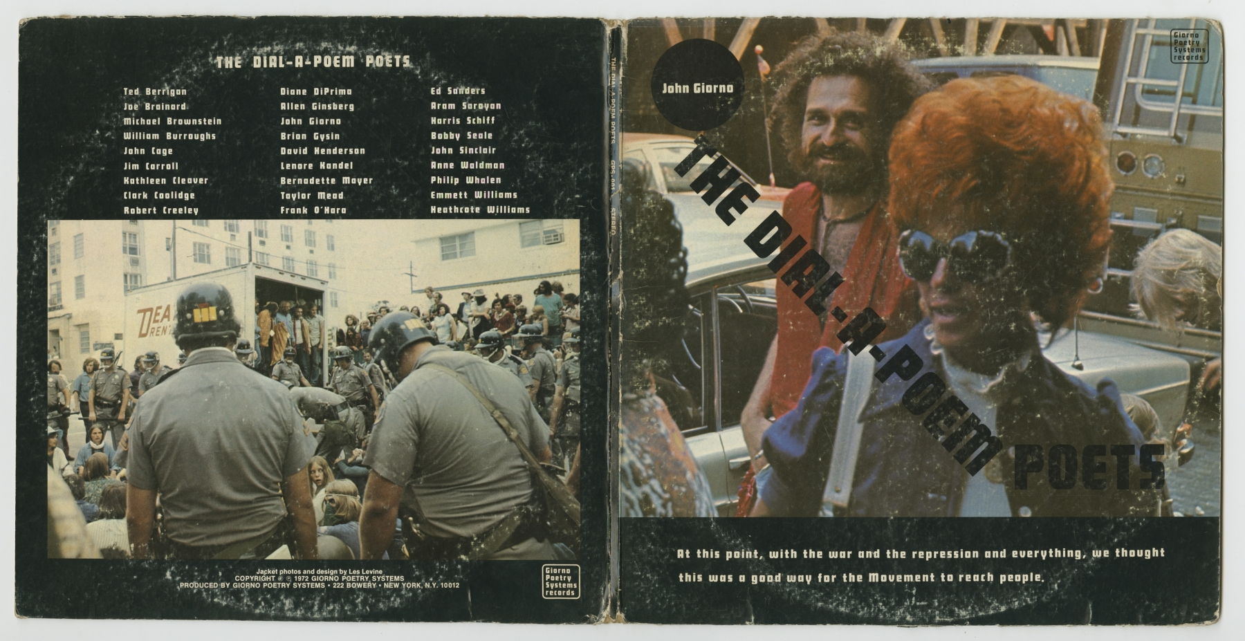 The Dial-A-Poem Poets LP, front and back covers