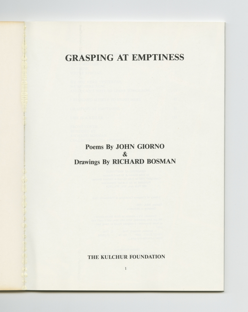 Grasping At Emptiness, 1985 (1) – Title page