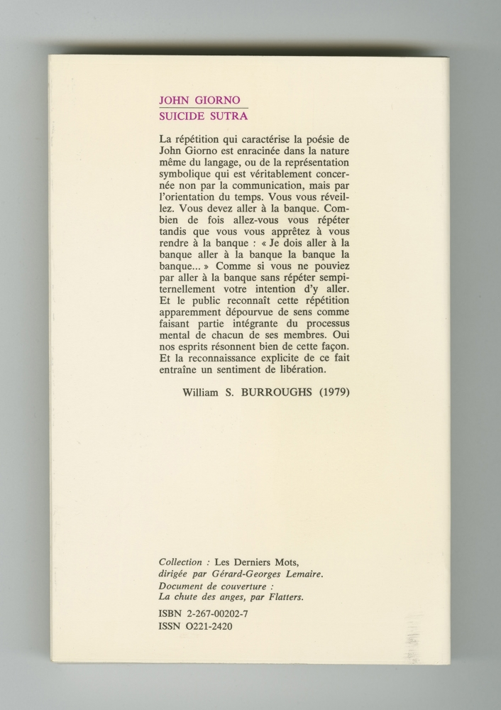 Suicide Sûtra, 1980 (6) – Back cover