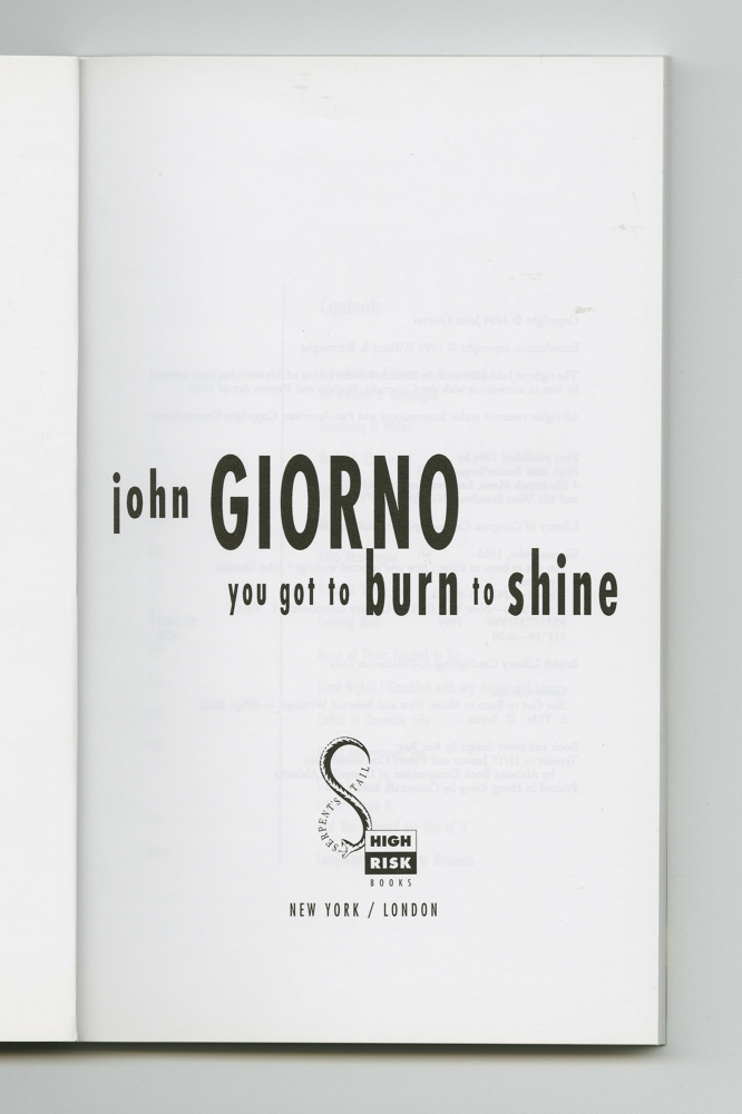 You Got To Burn To Shine, 1994 (3) –Title