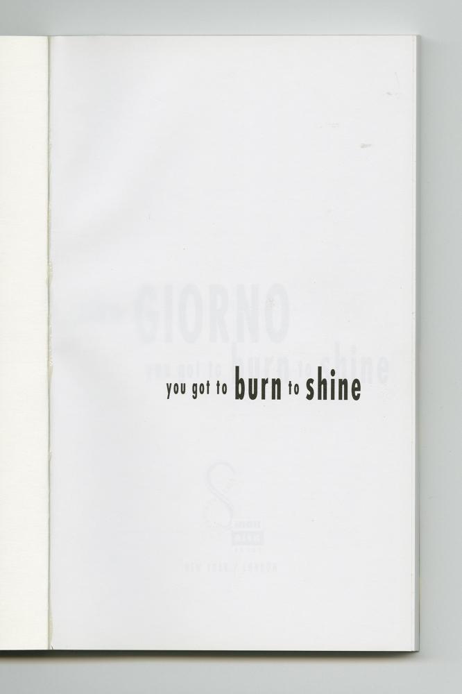 You Got To Burn To Shine, 1994 (2) –Half-title