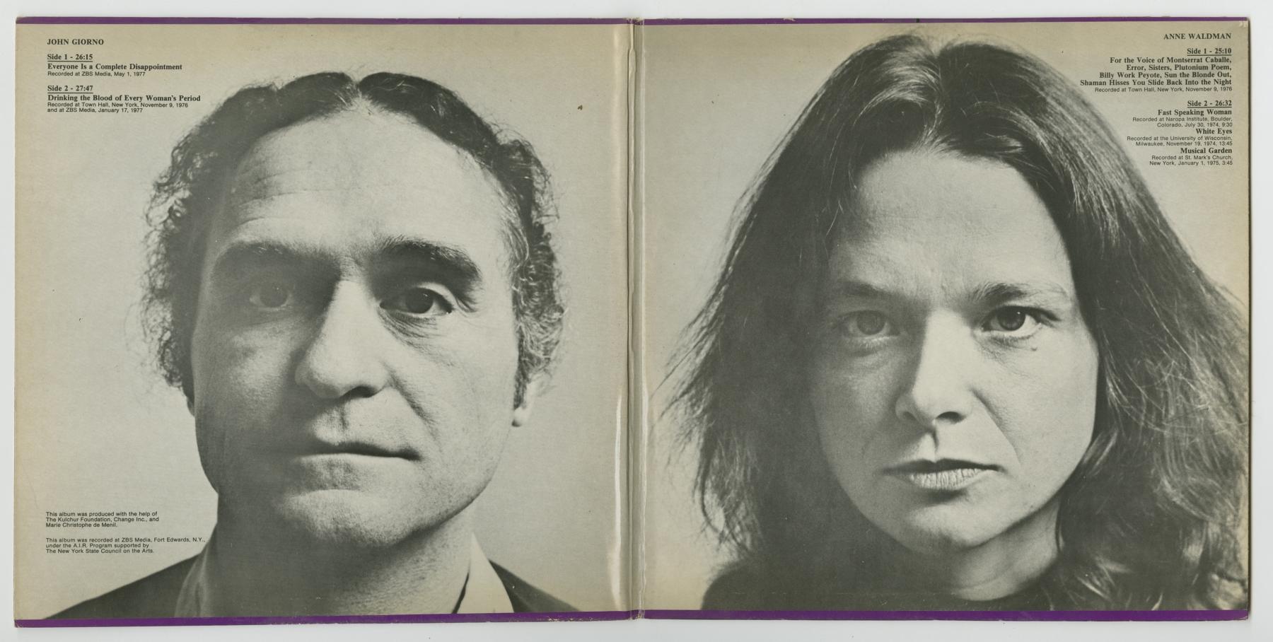 John Giorno and Anne Waldman: A Kulchur Selection (1977), inside spread