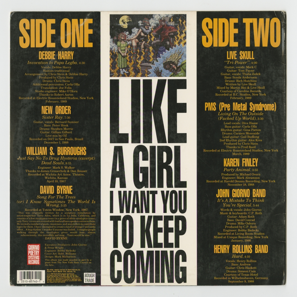 Like A Girl, I Want You To Keep Coming (1989), back cover