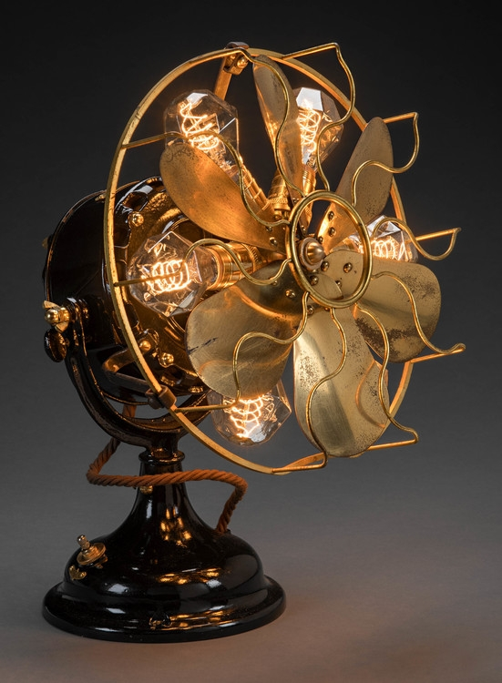 illuminated antique fan sculpture