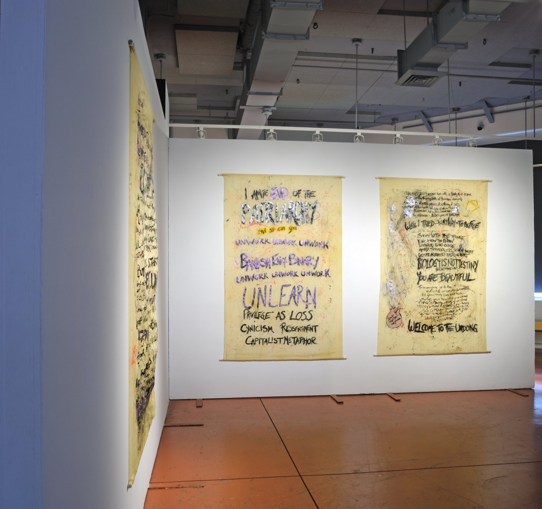 Rahne Alexander I Am The End Of The Patriarchy And So Can You, 2020 Silk, commercial and homemade inks, and poplar dowels 72 inches x 48 inches each