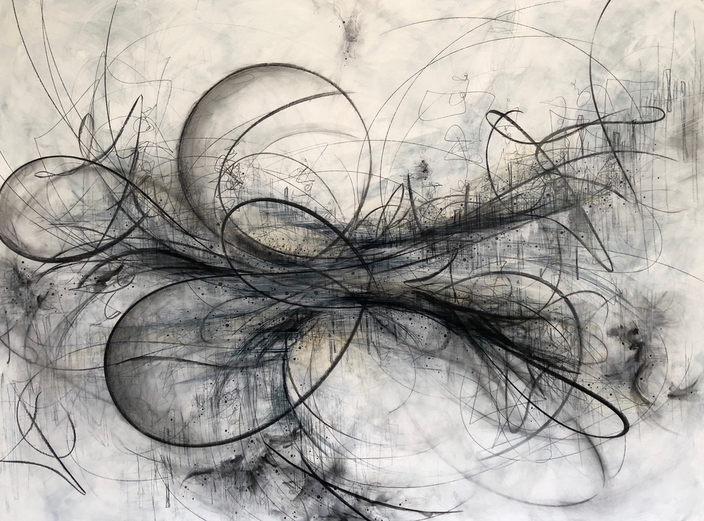 black and white gestural drawing