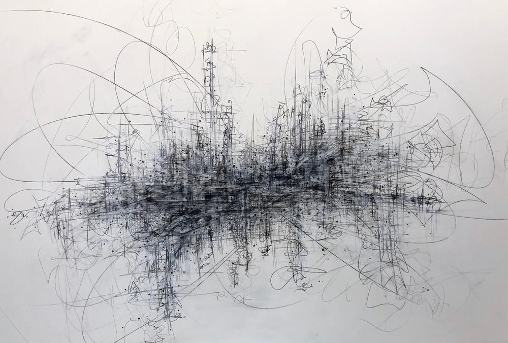 gestural graphite drawing