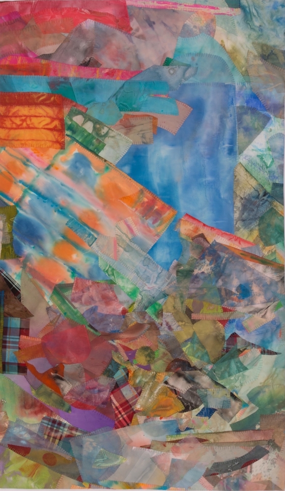 "New Landscape  48"" x 28""  Acrylic And Thread On Silk"
