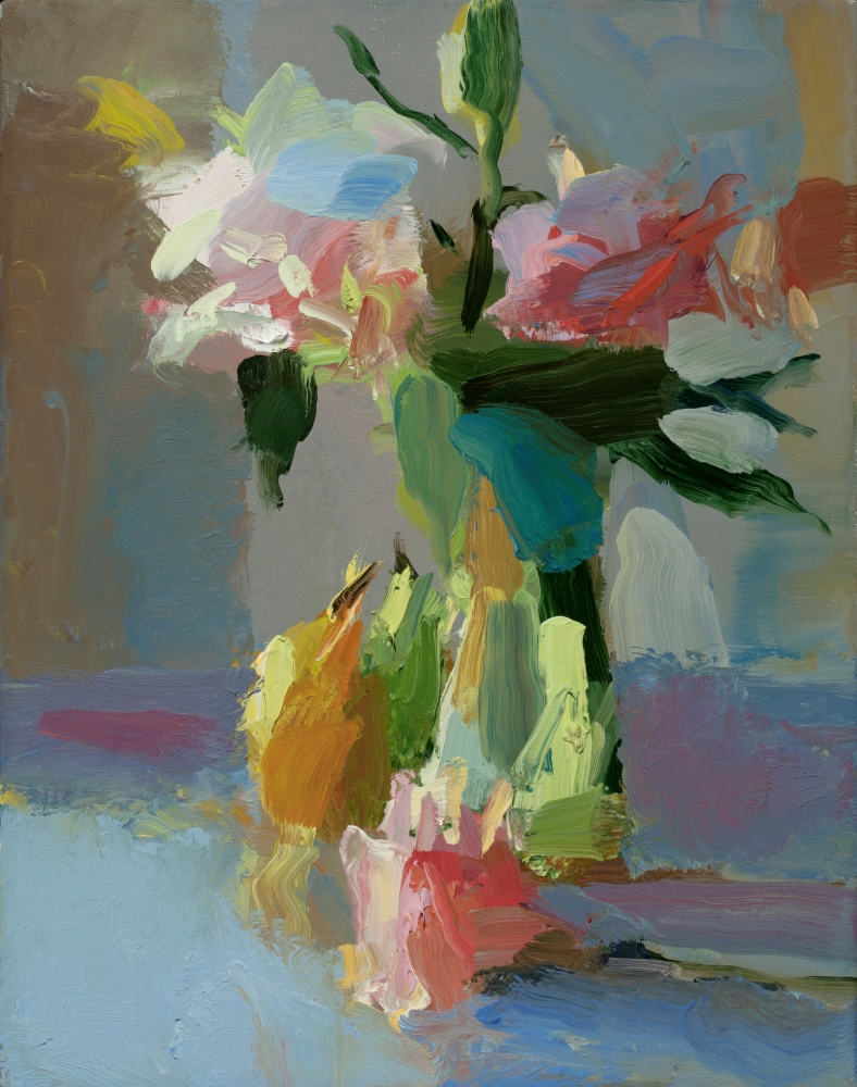 """Pink Lilies and Pears  14"""" x 11""""  Oil On Linen"""