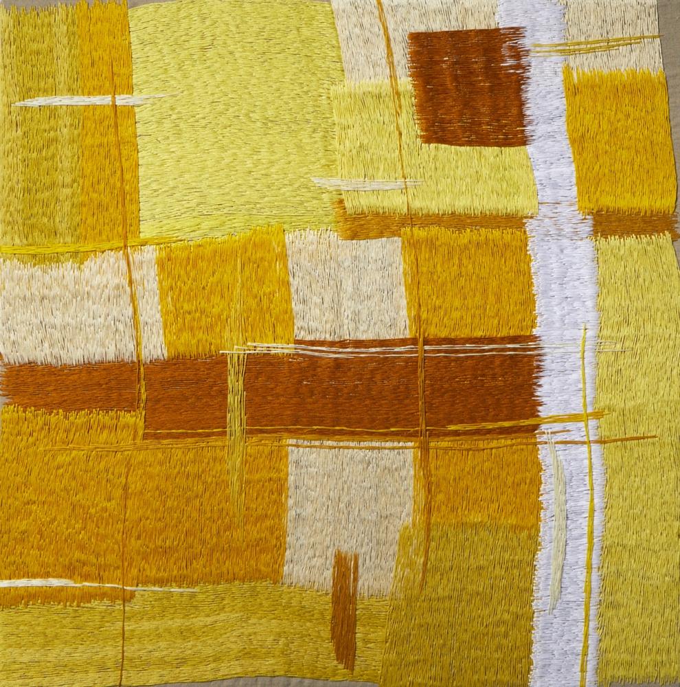 """Yellow  30"""" x 30""""  Thread On Linen"""