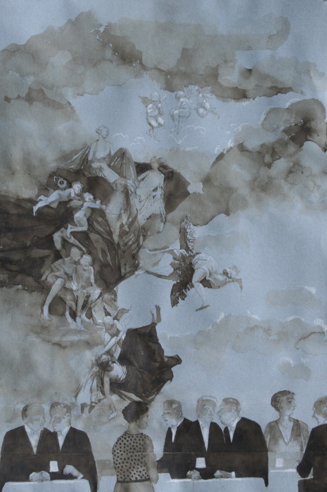"""Something Of The Sky In Us, Study #2  24"""" x 16""""  Ink"""