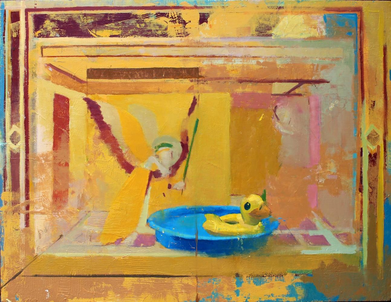 "Annunciation (After Lorenzetti)  21"" x 16""  Oil On Board"