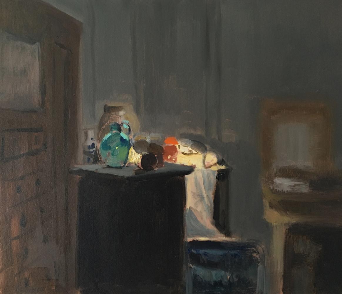 """Night Interior   12"""" x 14""""  Oil On Panel"""