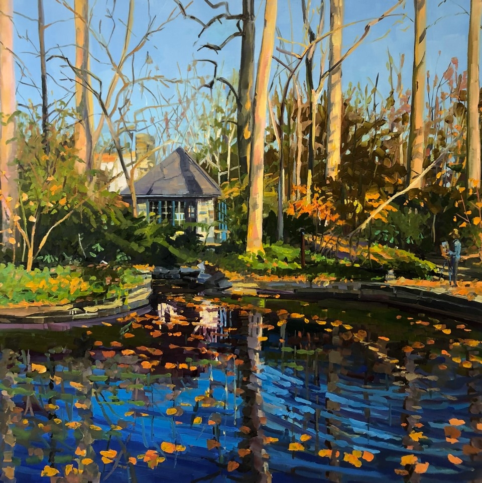 """Teahouse At The Barnes  30"""" x 30""""  Oil On Linen"""