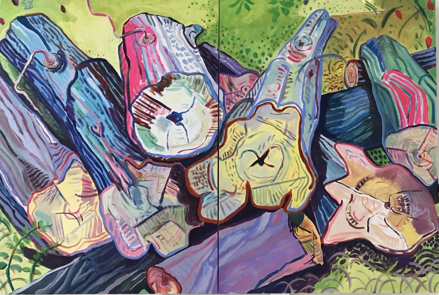"""Curtis Wallin, Fresh Cuts  40"""" x 60""""  Acrylic On Canvas"""