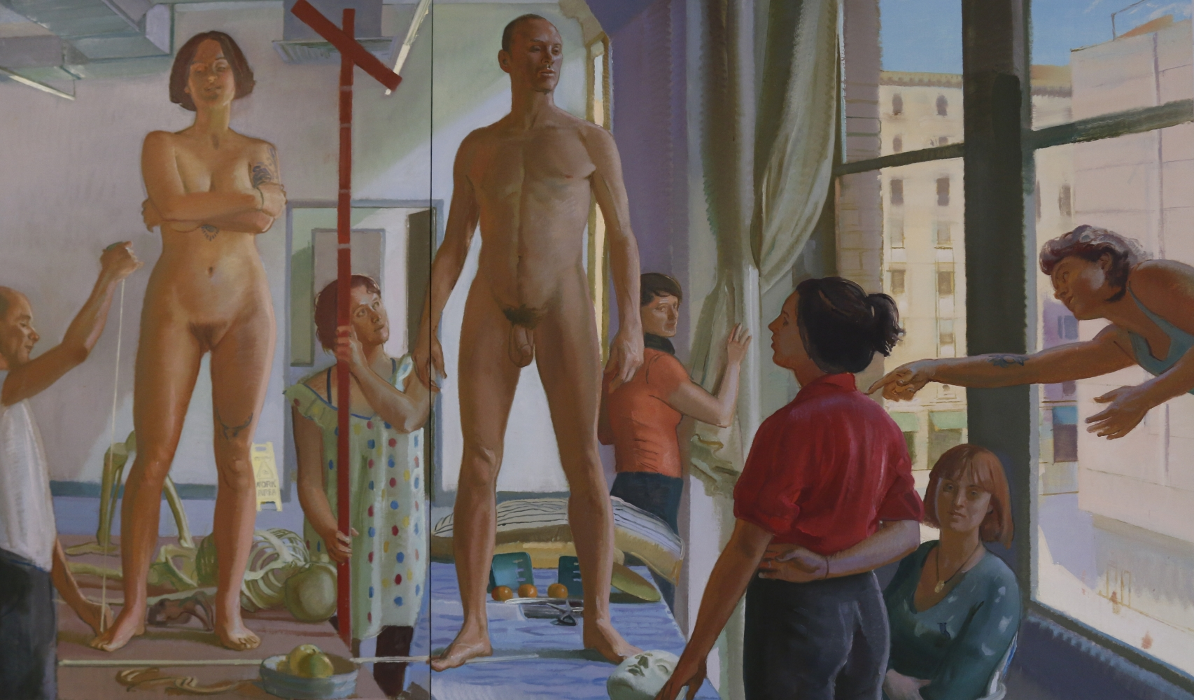 """Lilith And Adam in the Workshop  80"""" x 130""""  Oil On Linen"""