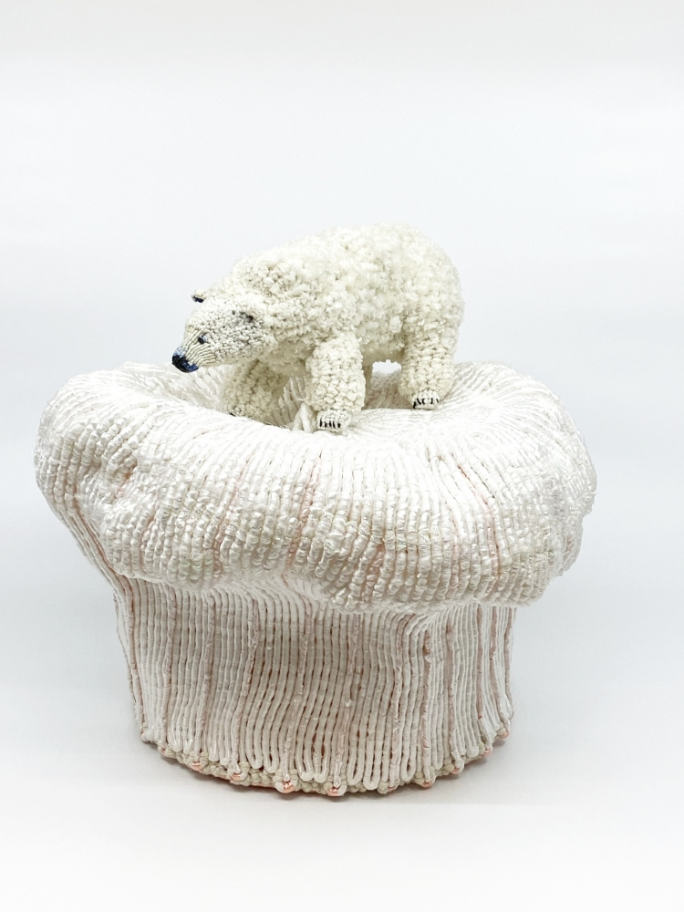 "Arctic Cupcake  13"" x 13"" x 13""  Cotton, Chenile, Ribbon, Synthetic Cording"