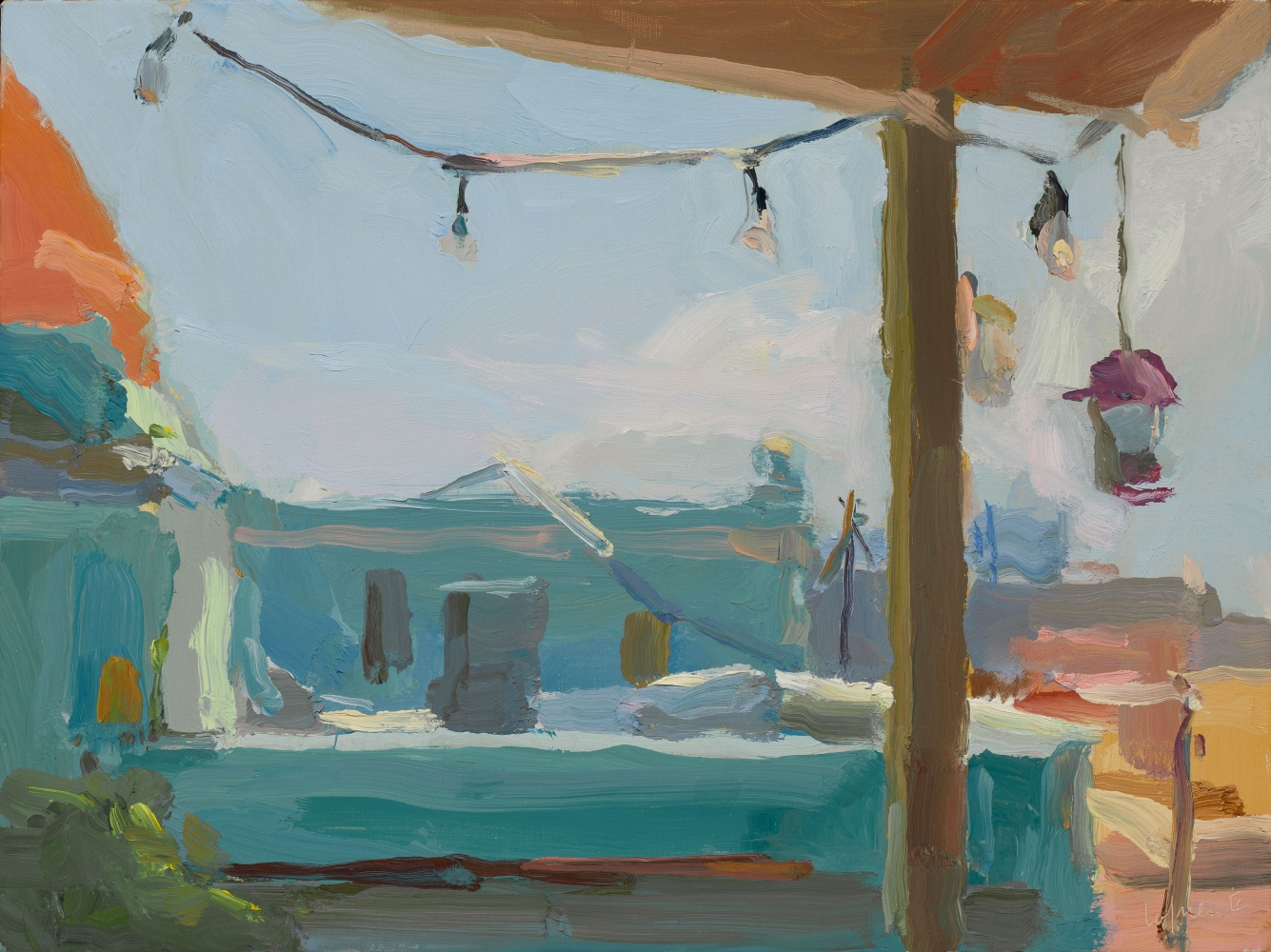 """Christine Lafuente, Terrace with String of Lights, Old San Juan  12"""" x 16""""  Oil On Linen"""