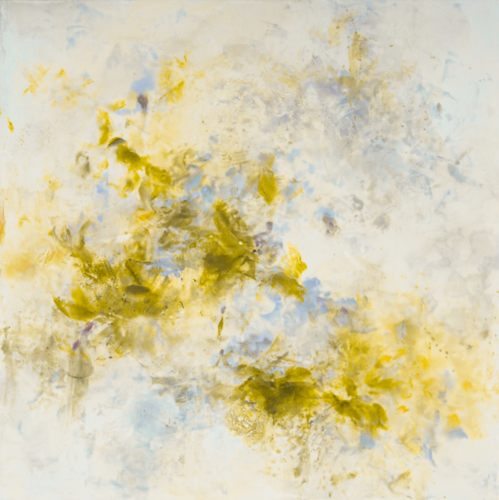 """Betsy Eby, April 45"""" x 45""""  Hot Wax, Cold WAx, Ink, Oil On Panel"""
