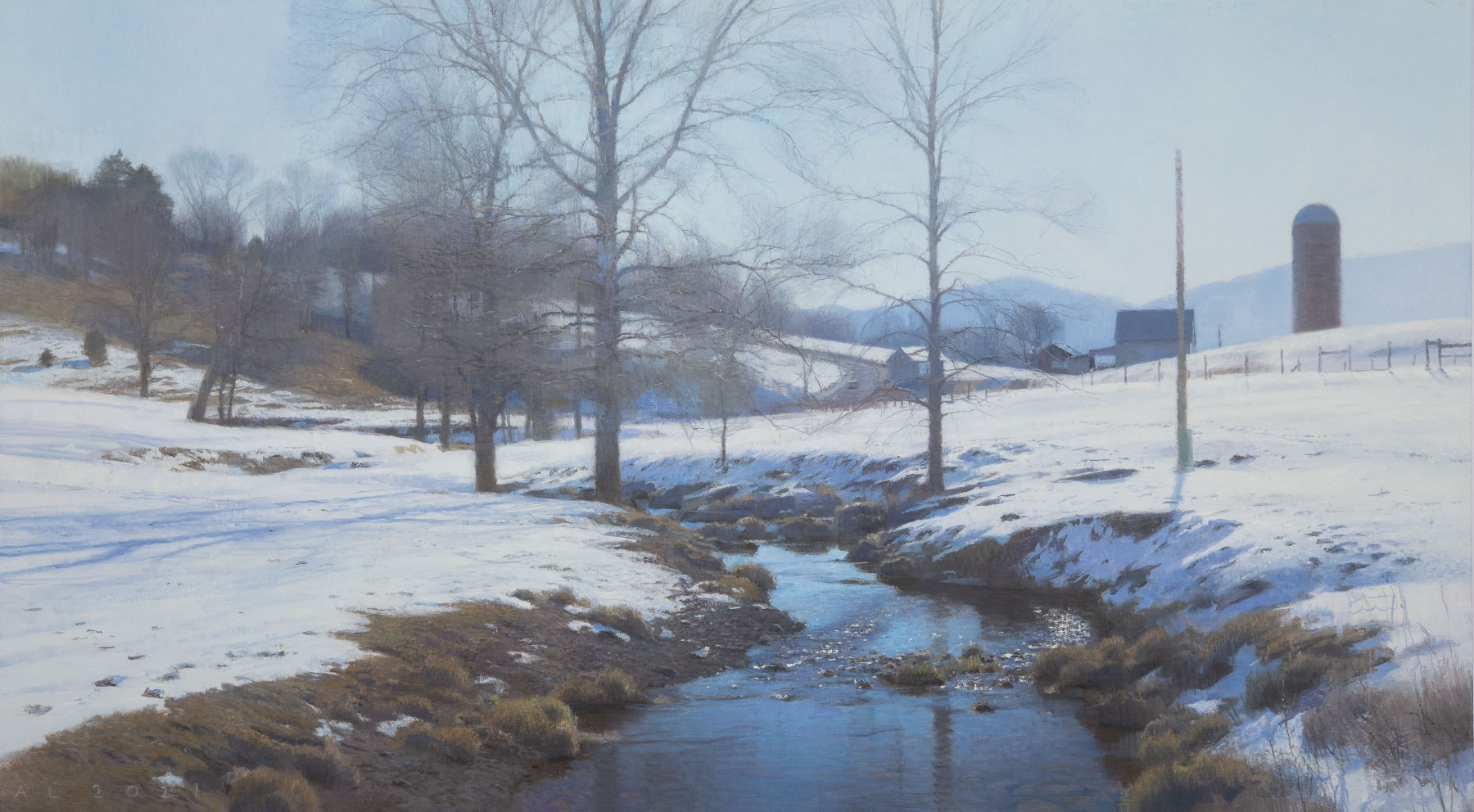"""Cold Morning, Swover Creek  30"""" x 54""""  Oil On Canvas"""