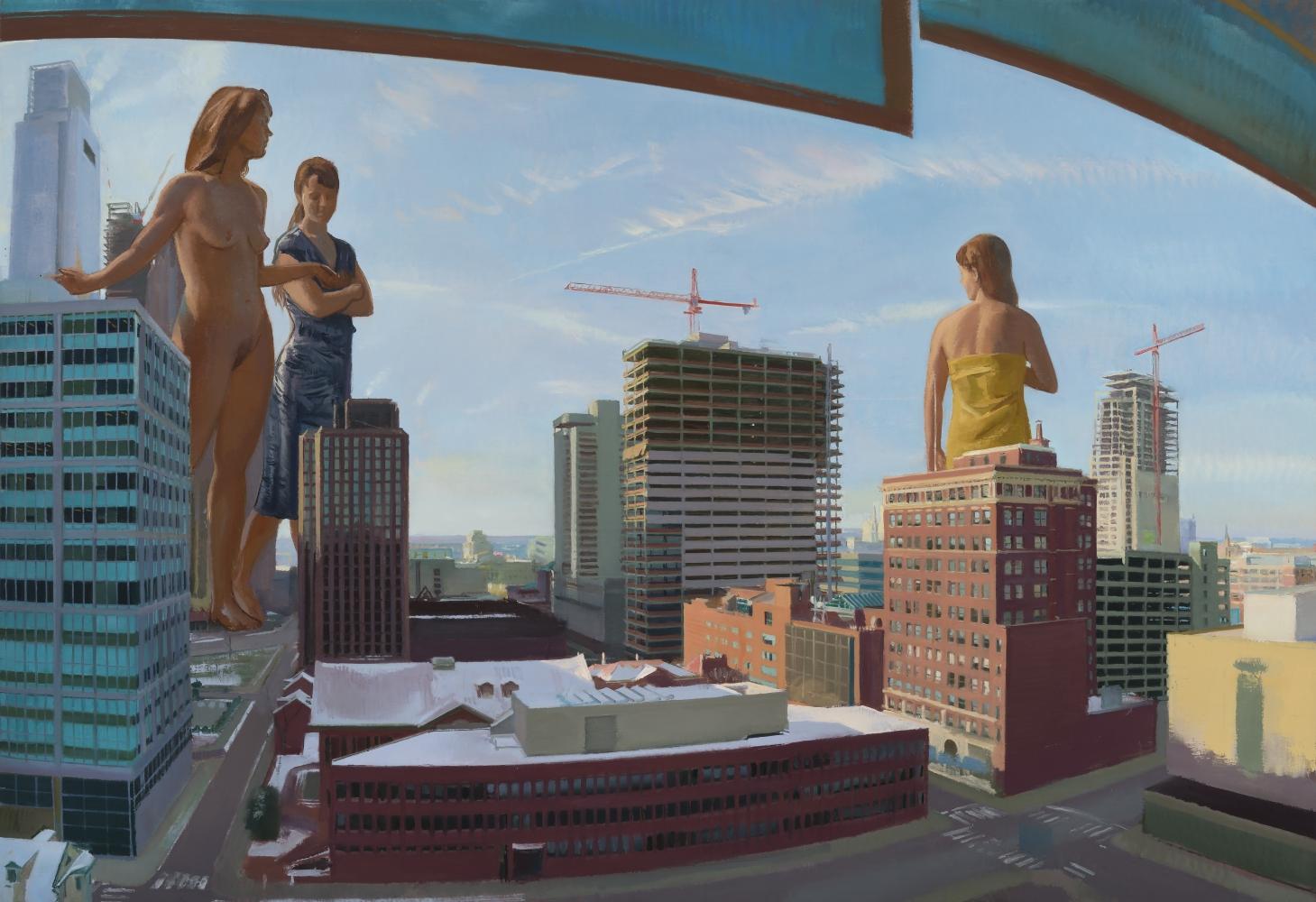 """The Graces Survey the City  66"""" x 96""""  Oil On Linen"""