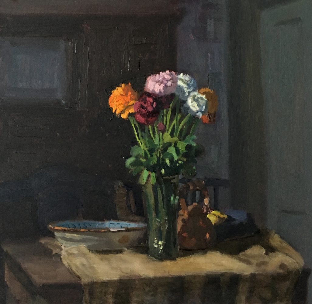 """Ranunculus And French Plate  12.5"""" x 13""""  Oil On Panel"""