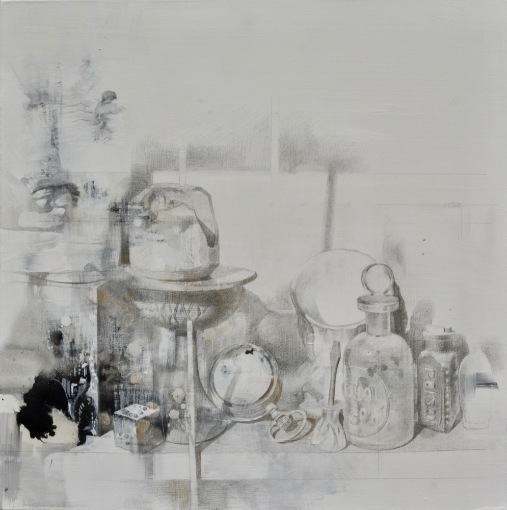 """Shelf Life #2  16"""" x 16""""   Silver And Gold Points"""