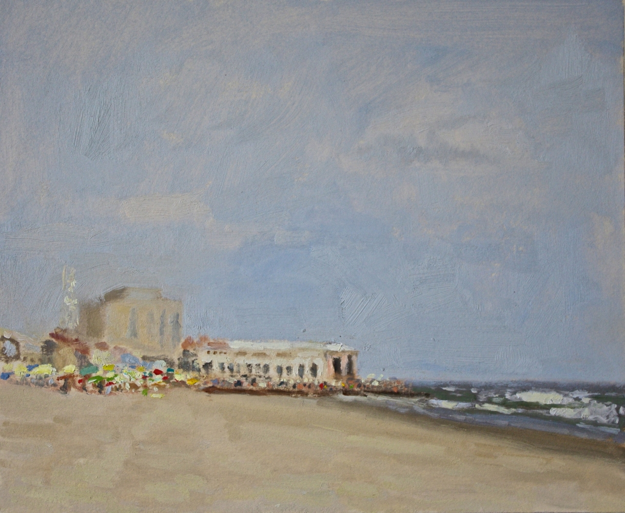 """In The Distance, Music Pier  11.5"""" x 14""""  Oil On Panel"""