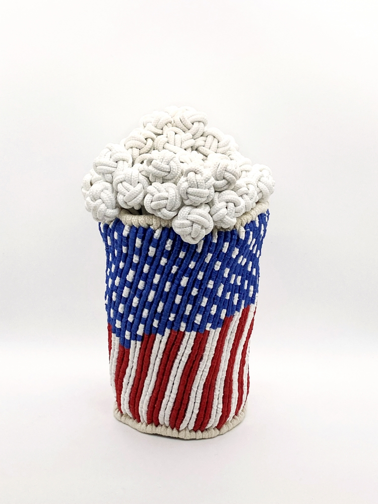 """Popcorn I   10"""" x 8"""" x 8""""  Synthetic Raffia, Ribbons, And Polyester Shoe Lacing"""