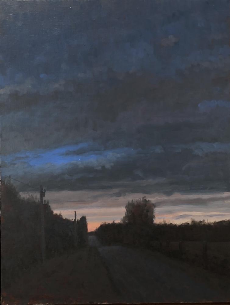 "Twilight, Saline County  24"" x 22""  Oil On Canvas"