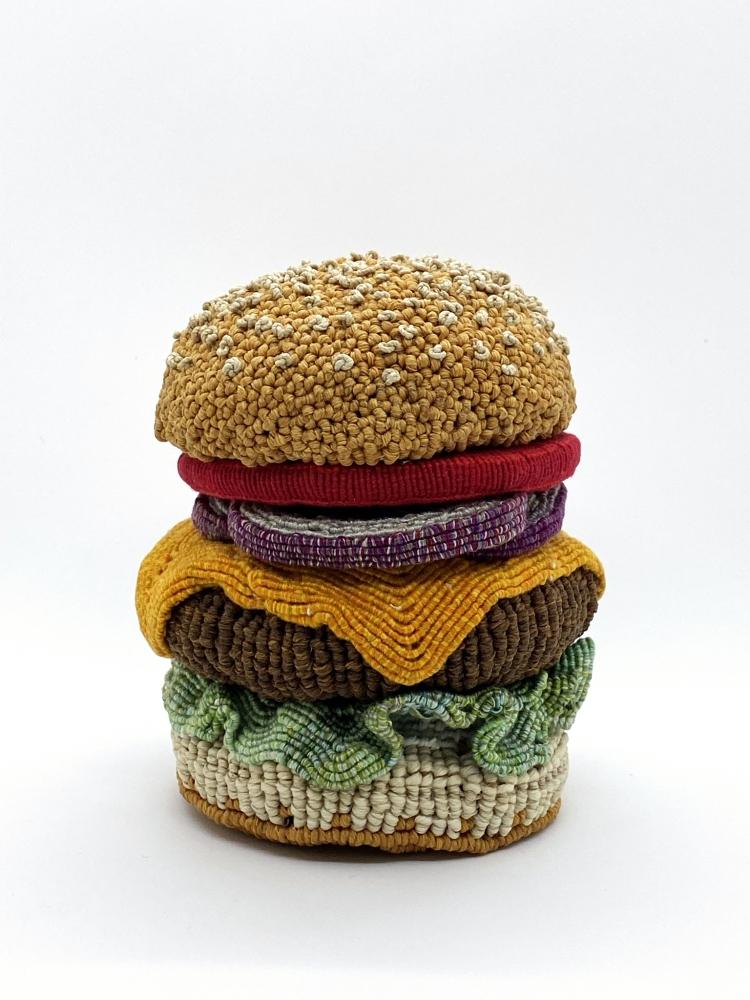 """Burger 4  5"""" x 5"""" x 5""""  Waxed Linen, Cotton, And Linen"""