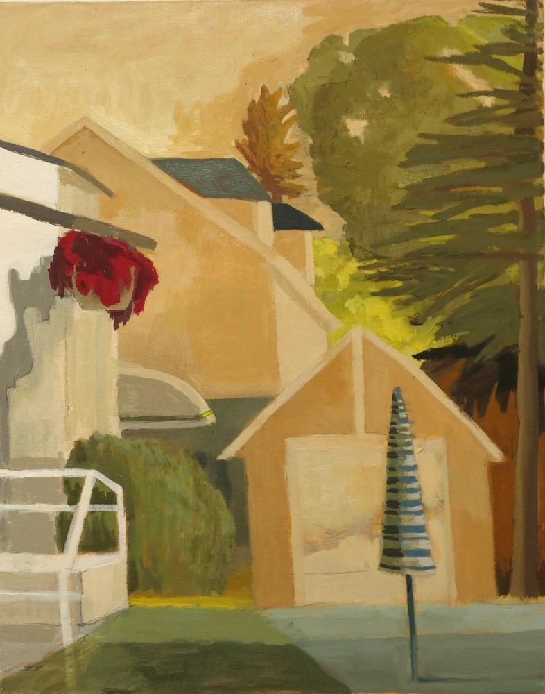 Celia Reisman, Umbrella, oil on canvas, 20 x 16 inches