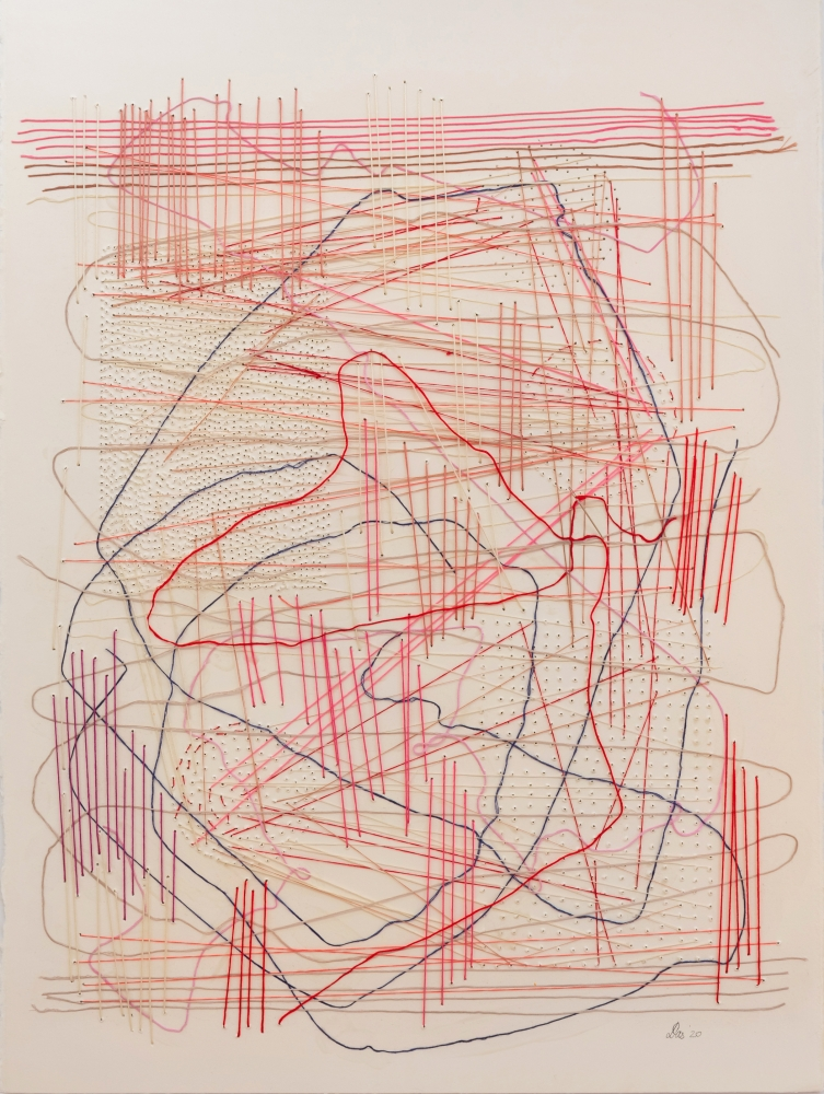 """Work On Paper Red  30"""" x 22""""  Thread Glued And Stitched On Paper"""