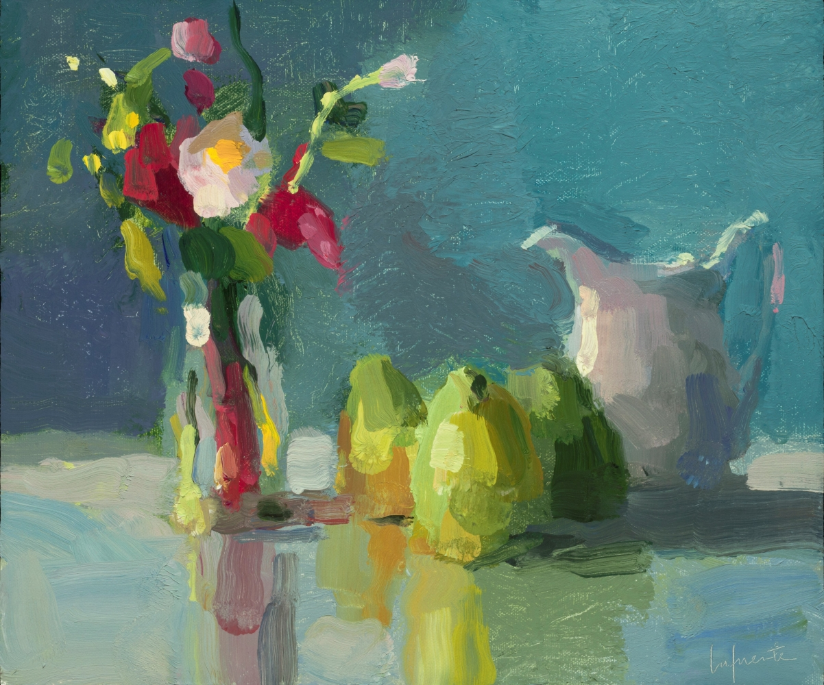 """Garden Flowers, Pears, And Pitcher  10"""" x 12""""  Oil On Mounted Linen"""