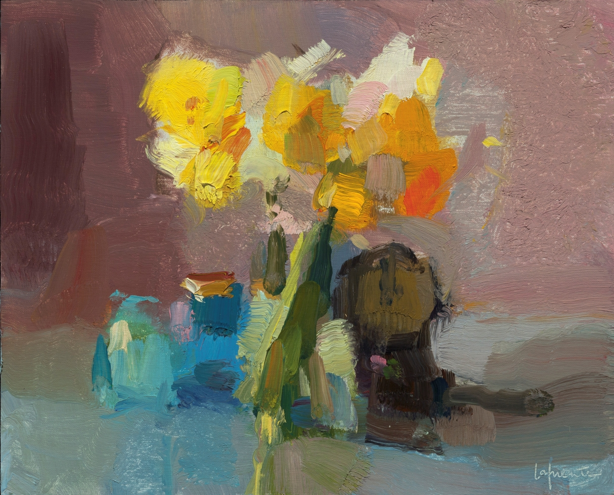"""Daffodils Bottles And Clock  8"""" x 10""""  Oil On Mounted Linen"""