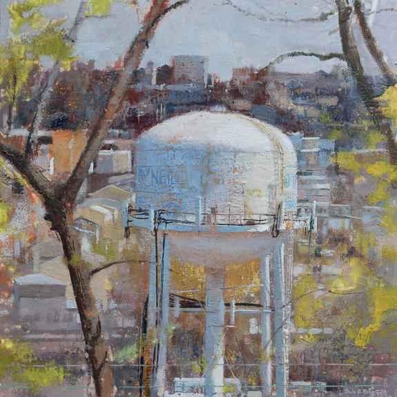 "Urban Spring, 29.5"" x 29.5"", Encaustic"