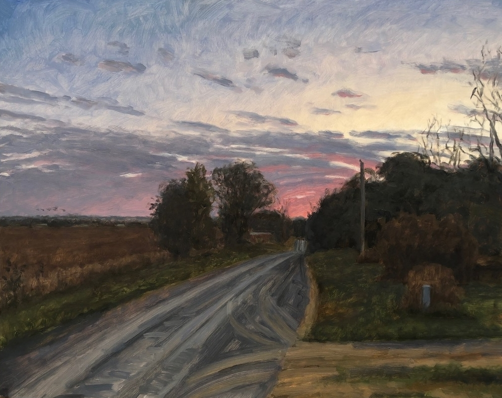 """Rosy Fingers, Napton, MO  16"""" x 20""""  Oil On Board"""