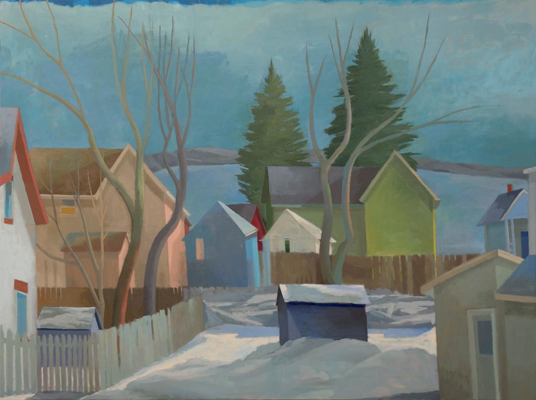 Celia Reisman, Winter Water Street, oil on canvas, 36 x 48 inches