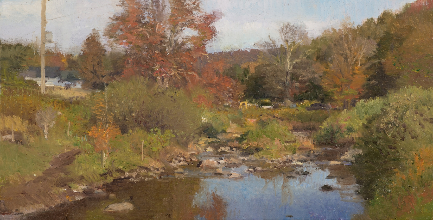"""North Branch, October  7"""" x 13.5""""  Oil On Panel"""