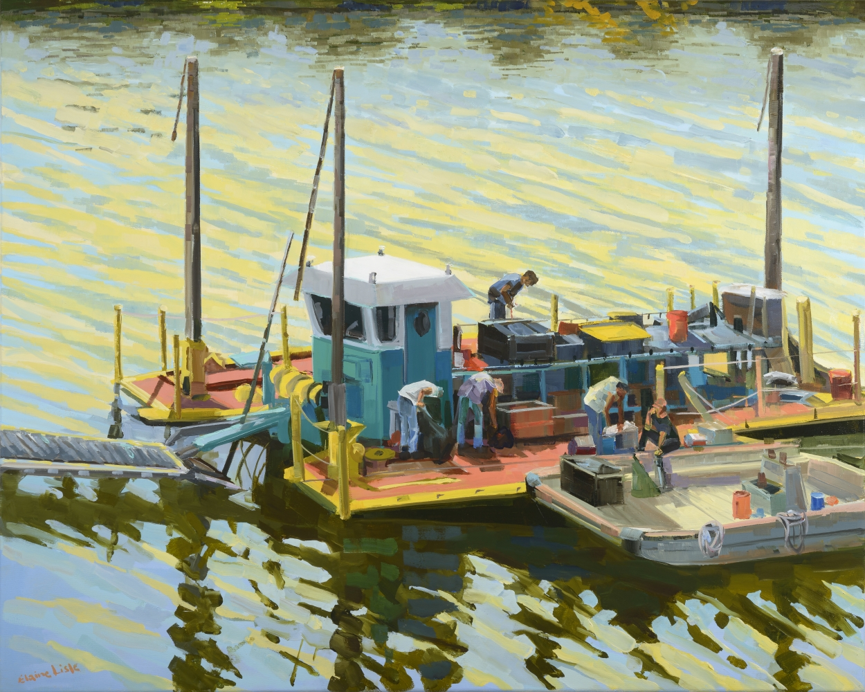 """Dredger On The Schuylkill  24"""" x 30""""  Oil On Canvas"""