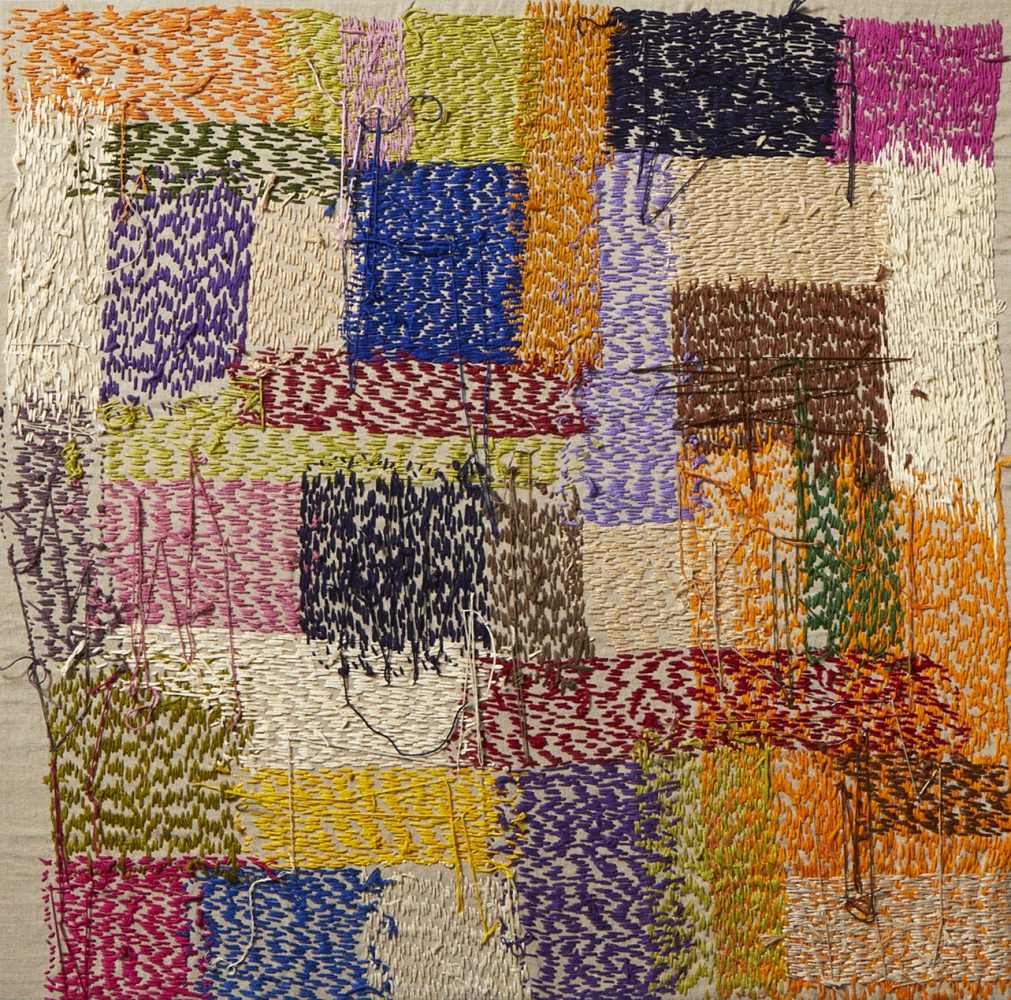 """Mixed Color Composition  30"""" x 30""""  Thread On Linen"""