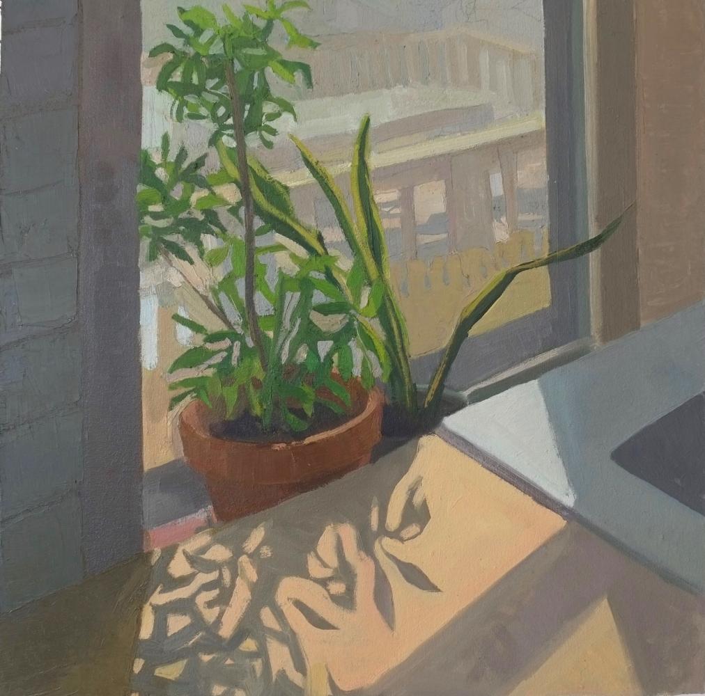 "Kitchen Window,  20"" x 20""  Oil On Canvas Mounted On Board"
