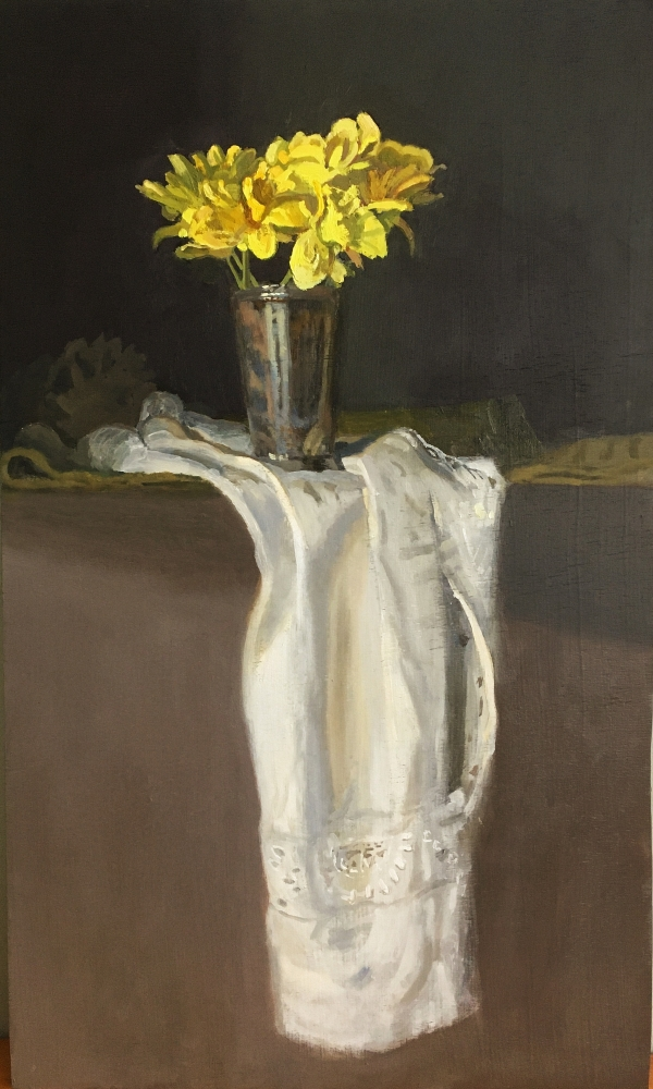 """Daffodils In A Silver Goblet  24"""" x 14.5""""  Oil On Panel"""