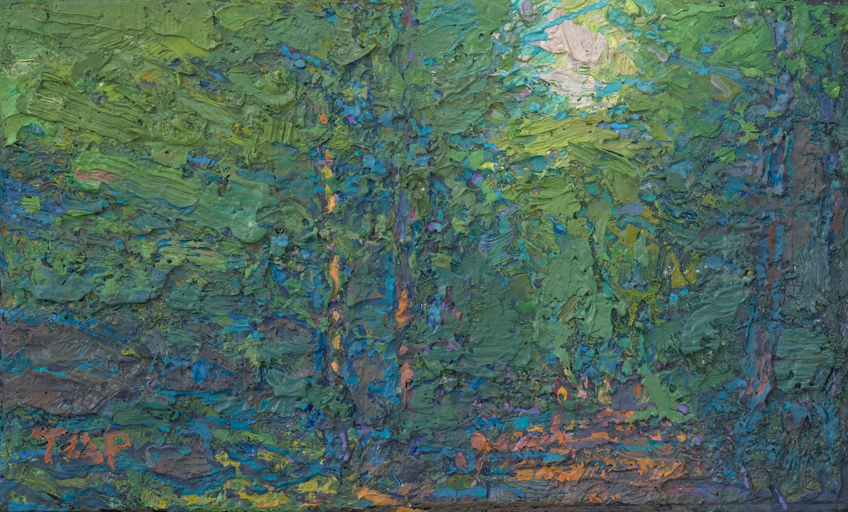 "Ironwood Trail Study II (Green)  3.13"" x 5.13""  Oil/Linen/Mounted On Wood Panel"