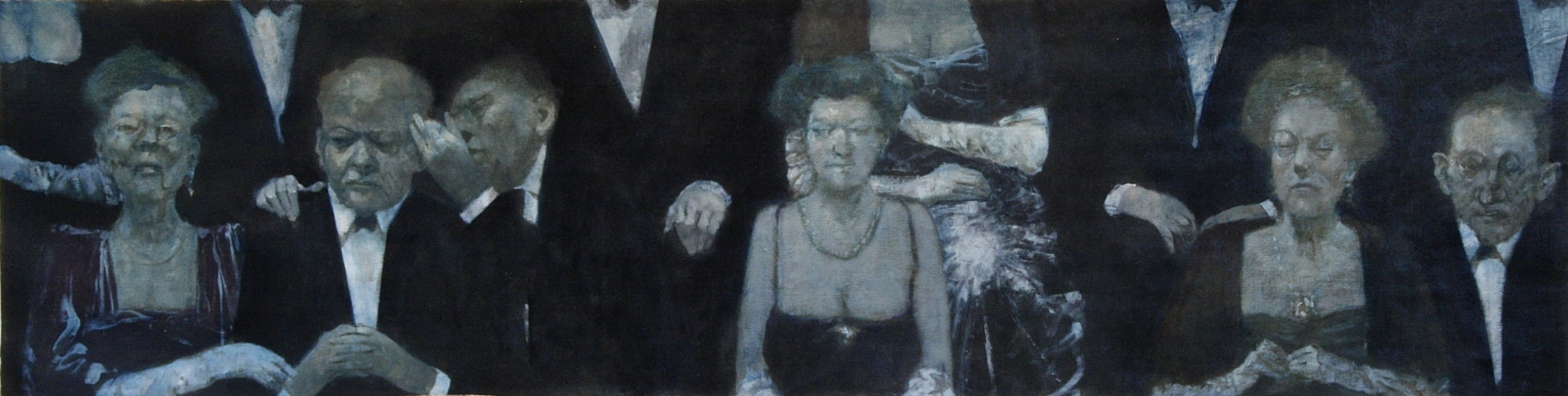 """Sitting In The Audience  18"""" x 69""""  Oil On Canvas"""