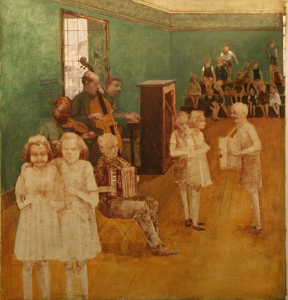 "Rehearsal Room (Brundibar Series)  34"" x 32""  Oil On Canvas"