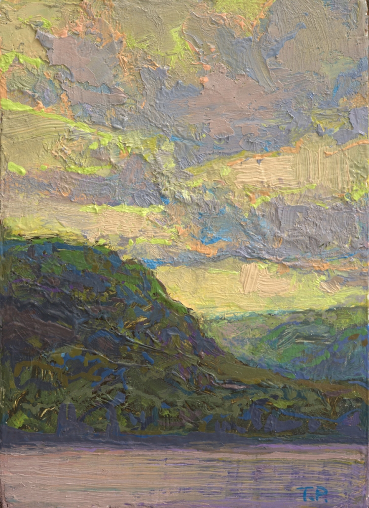 """Clouds So Inclined Study  3.38"""" x 2.68""""  Oil/Luan Panel"""
