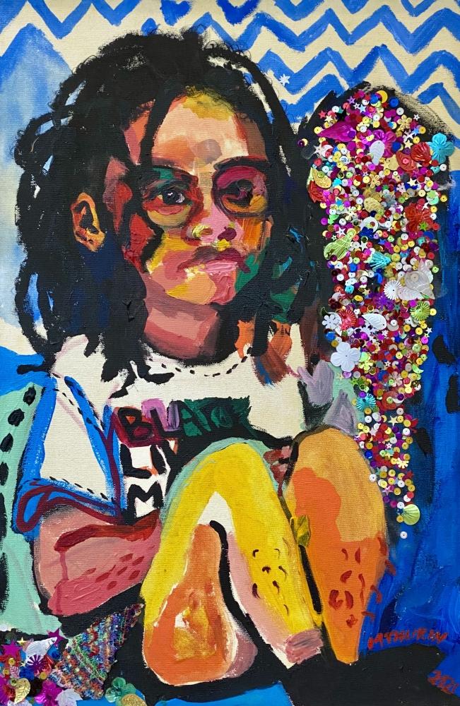 "Self Portrait With Re9al Shirt  24"" x 16""  Acrylic On Canvas"